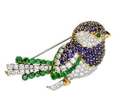 Van Cleef & Arpels. A Mutli-Gem and Diamond Bird Brooch