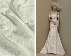 Dupioni: The most popular of silk blends found in wedding garments, this one is often used synonymously with shantung due to the two fabrics' similar sheen. However, dupioni is thicker and coarser with raised fibers that give it rougher texture than shantung.
