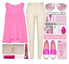 """""""I wear pink for the survivors."""" by onedeetwins ❤ liked on Polyvore featuring Viktor & Rolf, Clarins, Del Toro, Christian Dior, River Island, Splendid, Origins, Casetify, Michael Kors and beautyblender"""