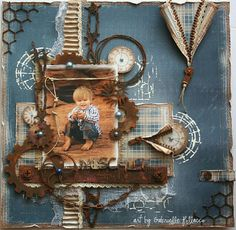 Scrapbook Page made by Gabrielle Pollacco using Dusty Attic Chipboard and Maja Design papers. Rusting technique used on the chipboard pieces. Vintage Scrapbook, Baby Scrapbook, Scrapbook Cards, Mixed Media Scrapbooking, Heritage Scrapbooking, Mix Media, Scrapbook Page Layouts, Layout Inspiration, Altered Art