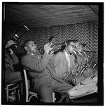 Portrait of Dizzy Gillespie, James Moody, and Howard Johnson, Downbeat, New York, N.Y., ca. Aug. 1947. Photograph by William P. Gottlieb. William P. Gottlieb Collection, Library of Congress Prints and Photographs Division.