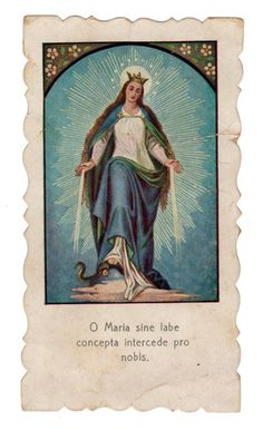 "Virgin Mary Vintage Die Cut Holy Card Spanish ""Holy Mother pray for us"""