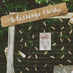 Set out a wired wooden rack, clothespins, bits of paper, and colorful pens, then invite guests to cite their best advice for the happy couple. #weddings
