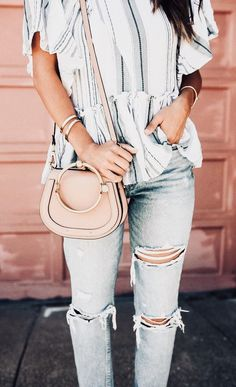 Striped top + distressed denim.