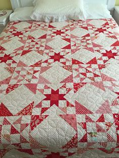 Star Quilt Blocks, Star Quilts, Scrappy Quilts, Quilting Projects, Quilting Designs, Sewing Projects, Two Color Quilts, Red And White Quilts, Patriotic Quilts