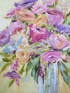 Floral Painting - Acrylic on Canvas by Susan Pepe