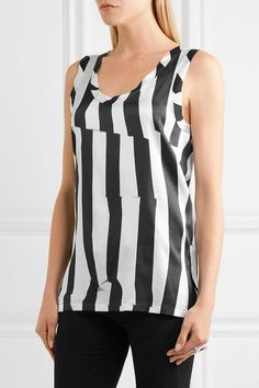 Ann Demeulemeester - Striped Stretch-silk Satin Top - White - FR40