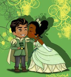 Too cute... Tiana and Naveen by ~VanillaKeyblade