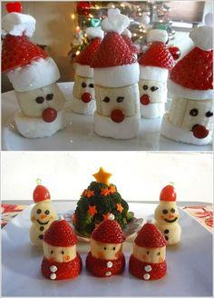 Adorable santa banana and strawberry treats that kids can make. Fun for a Christmas party! Christmas Cupcakes, Christmas Desserts, Christmas Themes, Christmas Crafts, Christmas Lunch, Preschool Christmas, Simple Christmas, Fruits For Kids, Menu