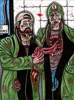 Original Art Jay & Silent Bob Zombies 8 x 11 inch paper Jason Mewes Kevin Smith #IllustrationArt