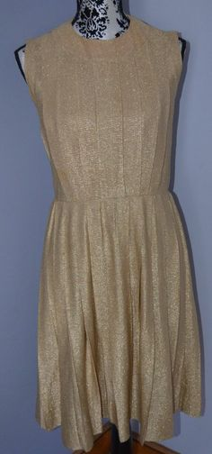 1950's VINTAGE GOLD PLEATED DRESS