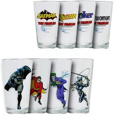 When you have friends over to discuss which Superhero is best, bring out this Batman Pint Glass Box Set and serve some refreshing beverages. Your friends who liked Marvel will be won over to the DC side instantly.  You get a set of 4 different 16oz pint glasses featuring DC Comics' Batman