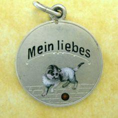 Antique Art Nouveau Silver Enamel Austrian Rebus Charm Mein Liebes My Dear Cat   eBay