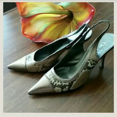 Copper toned animal print slingbacks Beautiful animal print slingbacks. In great condition with leather upper.  Made in Italy Shoes Heels