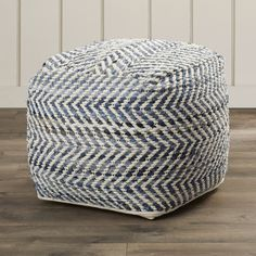 "Features:  -Chevron pattern.  -Fabric: Cotton.  -Removable cover: No.  Design: -Pouf.  Upholstery Color: -Blue. Dimensions:  Overall Height - Top to Bottom: -16"".  Overall Width - Side to Side: -16""."