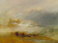 Joseph Mallord William Turner, Wreckers—Coast of Northumberland, with a Steam-Boat Assisting a Ship off Shore, between 1833 and 1834. Oil on canvas