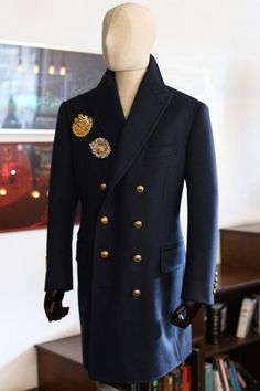 http://chicerman.com  tailorablenco:  Winter armor. Heavy wool coat made with Dugdale fabric. Emblem embroidery made with 24k gold thread.  #menshoes