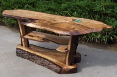 Live edge coffee table with inlayed turquoise | CustomMade