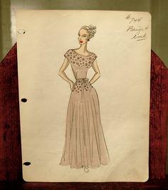 original Balmain fashion sketch by expvintage on Etsy, $150.00