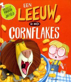 """De KIDDO Leespluim van juli 2015 gaat naar Een leeuw in mijn cornflakes van Michelle Robinson en Jim Field. Het is """"een bijzonder overdreven en ongeloofwaa"""