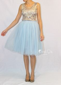 Claire Soft Baby Blue Tulle Skirt - Midi (2)