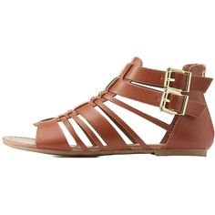 Charlotte Russe Buckled Strappy Sandals (125 ILS) ❤ liked on Polyvore featuring shoes, sandals, tan, tan strappy sandals, zipper gladiator sandals, charlotte russe shoes, wide strap sandals and strappy sandals