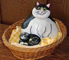 Black & White Painted Rock Cat