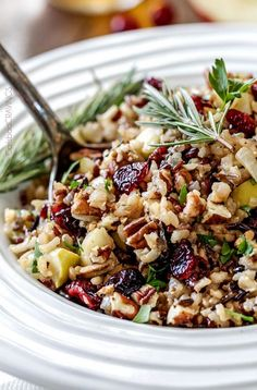 Easy one pot Cranberry Apple Pecan Wild Rice Pilaf simmered in herb seasoned chicken broth and apple juice and riddled with sweet dried cranberries, apples and roasted pecans for an unbelievable savory sweet side dish perfect for the holidays. Christmas Side Dishes, Thanksgiving Side Dishes, Thanksgiving Recipes, Thanksgiving Vegetables, Christmas Recipes, Holiday Recipes, Christmas Friends, Wild Rice Pilaf, Rice Pilaf Recipe