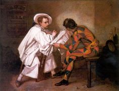 1857 - Thomas Couture - Pierrot the Politician (or Harlequin and Pierrot)