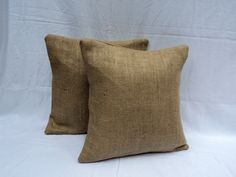 Burlap Pillows Set of 2 French Farmhouse to by theruffleddaisy, $42.00    would add nicely to the modern rustic look im going for