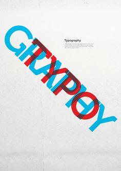 예술이 된 글자들. TYPOGRAPH; TYPOGRAPHY라는 타이포 르그레피 작품이다. 밝은 빨간색과 밝은 파란색이 서로 정반대인 색으로 대조 되고 있다.