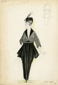 """Day Dress, Chéruit, 1914. Black dress with black and white jacket; pleated skirt with lampshade silhouette tapered down to ankle length hobble skirt; long white gloves included under three quarter length sleeves of jacket; black hat with black plume included.  (Bendel Collection, HB 005-04)"", 1914. Fashion sketch. Brooklyn Museum, Fashion sketches. (Photo: Brooklyn Museum, SC01.1_Bendel_Collection_HB_005-04_1914_Cheruit_SL5.jpg)"