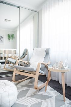 Ikea Rocker in White, Gray and Natural Wood Nursery - Project Nursery