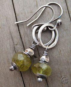 Earrings. Green Garnet. Sterling Silver. Small Hoop. Handmade.