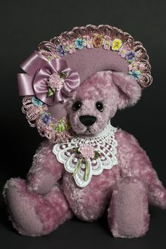 Little Miss Pink - Created from cotton cadndy colored viscose - about 9.5 inches. #artistbear #artistbears #teddybear #teddy #handmade