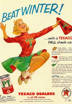 Texaco Dealers Beat Winter Girl Fall Check 1950s - www.MadMenArt.com | Vintage…
