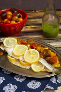 Roasted Branzino and Tomatoes with Lemon Basil Sauce from The Girl In The Little Red KItchen