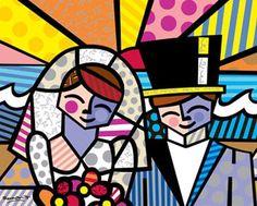 "Romero Britto ""Honeymoon at Sea"" Limited Edition on Canvas 16"" x 20"""
