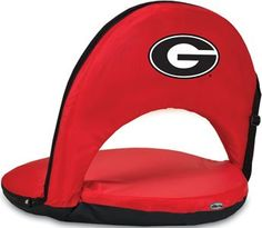 NCAA Oniva Seat Color: Red, NCAA Team: University Of Georgia Bulldogs  Stadium seat cushioned with high-density foam  Durable, easy-care polyester cover  Strong steel frame  Licensed NCAA team logos and colors  Adjustable shoulder strap and 6 reclining positions