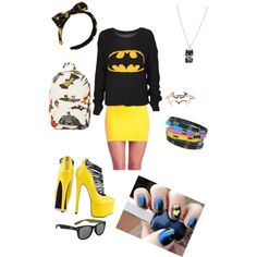 I would change the headband for a hat and high heels for black wedges or flats