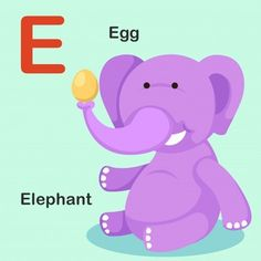 Isolated animal alphabet letter e-egg elephant Vector Image English Activities For Kids, Learning English For Kids, Learning The Alphabet, Preschool Alphabet, Alfabeto Animal, Camping Crafts For Kids, Flashcards For Kids, Alphabet Pictures, Animal Alphabet