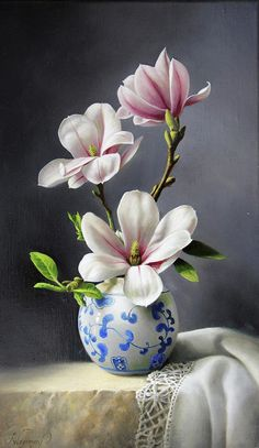 Flowers Discover Magnolia by Pieter Wagemans Magnolias Painting - Magnolia by Pieter Wagemans Oil Painting Flowers, Watercolor Flowers, Watercolor Art, Paintings Of Flowers, Painting Trees, Flower Vases, Flower Art, Plant Drawing, Magnolia Flower
