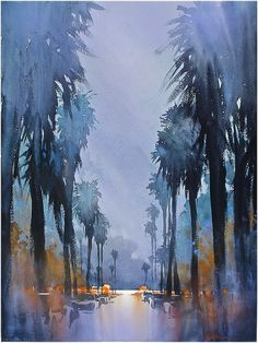 """sundown venice"" thomas w schaller watercolor 24x18 inches 18 february 2014"