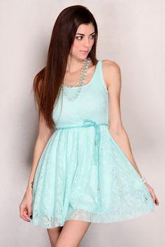 Seafoam Sleeveless Open Knit Belted Sexy Mini Party Dress