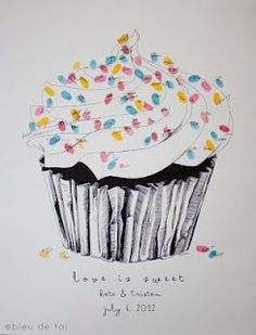 guestbook thumbprint cupcake  (sugar, spice, and everything nice - that is what little girls are made of!)
