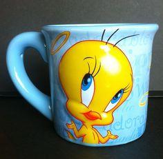 Tweety Bird ~ Looney Tunes ~Blue Yellow Embossed Mug ~ 99% Angel ~FREE SHIPPING #HoustonHarvestWarnerBros