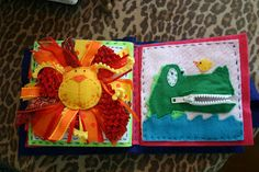 Lion quiet book page and alligator quiet book page
