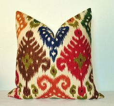 Beautiful Decorative Pillow Covers - Ikat - 20x20 inch - Red - Green - Blue - Throw Pillow - Toss Pillow - Sofa Pillow
