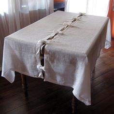 Weiß natürlichen Leinen Tischdecke mit Bögen Ostern