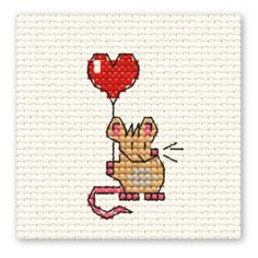 Hobbycraft Valentines Mouse Mini Cross Stitch Kit